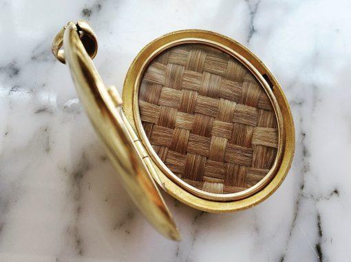 Gold Basket Weave Locket