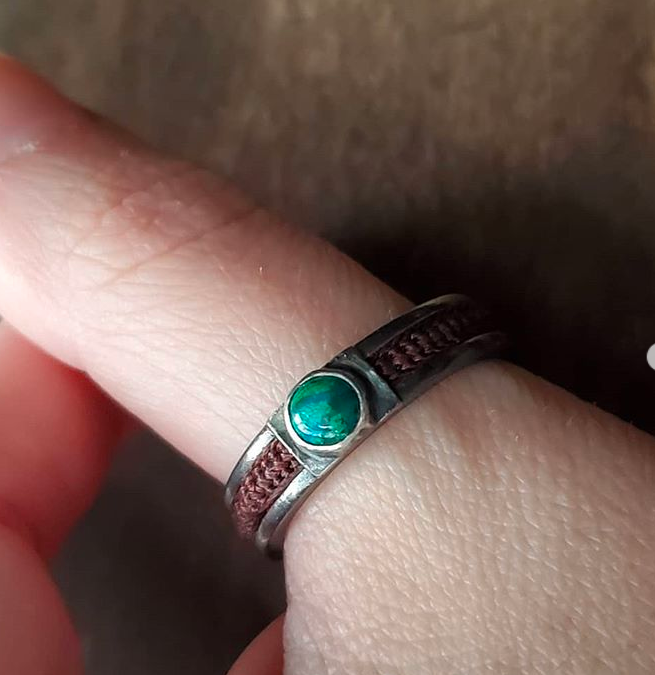 Azurite + Silver Ring with Woven Hair