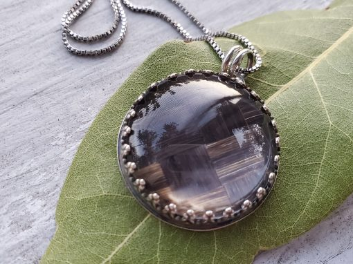 Modern Sterling Pendant with Woven Hair