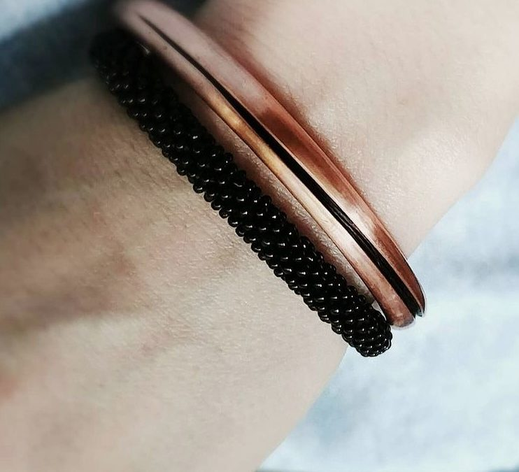 Copper Cuff with Twisted Hair